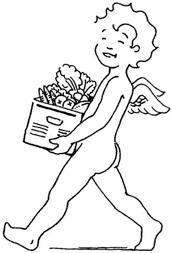 Angelic Organics | Angel carrying a CSA box
