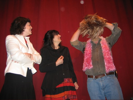I deconstructed my disguise for Janet, Ruth and the audience. I don't think that Ruth and Janet were having as much fun as it seems in the photo