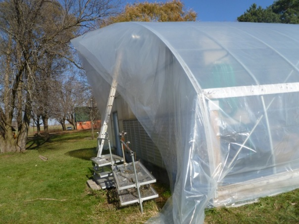 Getting ready for Spring, 2014. A new Double Cover on our Greenhouse.