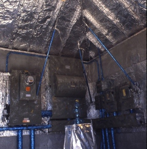 I Reynolds-Wrapped the electrical conduits. Then I blue-cellophaned them. I glittered its great switch boxes. Since we assign such a high status to electricity today (even those of us who recognize its ahrimanic nature, its true status as fallen light), I made the space ceremonial, reverential.