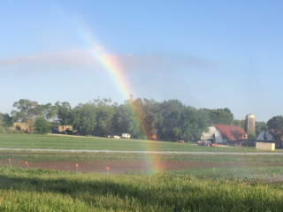 One thing that's different from when I was growing up:  with our irrigation system, we now make our own rainbows.