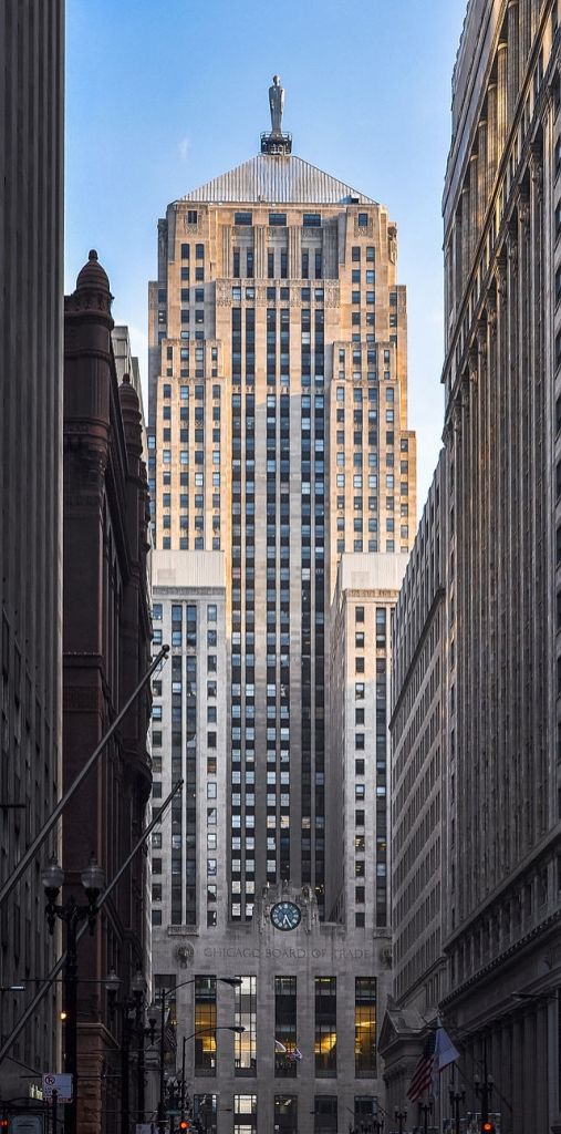 Board of Trade Building, topped by Ceres, puts a proud stop to the LaSalle Street Corridor